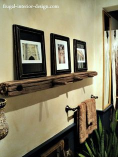 Reclaimed Beam Used As Floating Shelf To Display Artwork