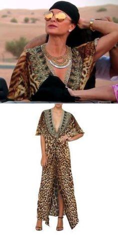 Kyle Richards' Embellished Animal Print Kaftan in Dubai http://www.bigblondehair.com/real-housewives/kyle-richards-lisa-rinnas-leopard-kaftan/ Camilla Franks Ruler of the Underworld Kaftan