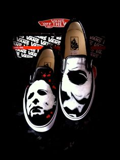 Halloween 4 Vans Michael Myers by VeryBadThing on DeviantArt Crazy Shoes, Me Too Shoes, Halloween Shoes, Halloween 4, Halloween Movies, Halloween Pumpkins, Custom Vans Shoes, Baby Converse, Painted Shoes