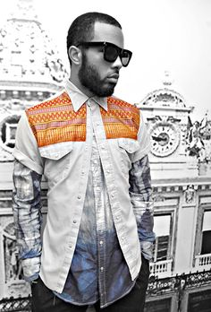 fruition burnished ethnic textile chambray button up