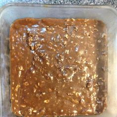 No Bake Brownies done the healthy way!   4 scoops of Advocare Muscle Gain Protein Powder  2/3 cup of regular oats  1/2 cup of Natural Peanut Butter  1/2 cup of local honey  1/2 cup of Almond Milk  Mix and heat on stove. Pour into dish and cool in refrigerator. That's it!