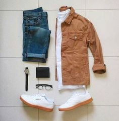 Are you wondering how to wear white sneakers for men or how to look sharp in simple jeans and casual shirt outfits? Then this 30 coolest casual street style looks is just the perfect guide you need to help you look AMAZING! Mode Outfits, Casual Outfits, Men Casual, Fashion Outfits, Fashion Trends, Der Gentleman, Look Man, Outfit Grid, Mens Clothing Styles
