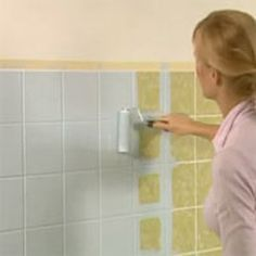 How to paint bathroom tiles. No more worry about buying a house with outdated tile. I might be using this!