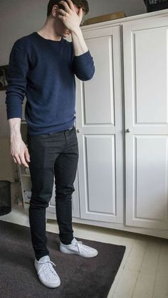 Or shift+drag to move black jeans outfit, blue sweater outfit, black jeans Blue Jeans Outfit Men, Blue Shirt Outfits, Blue Jean Outfits, Blue Sweater Outfit, H M Outfits, Men In Jeans, Mens Sweater Outfits, Black Jeans Men, Casual Outfits