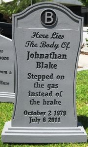 Gravestone for Halloween Haunted graveyard, but with funny (not scary) epitaphs!