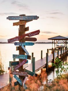 What a great whimsy touch of HGTV history! ♡♡♡ Designer David Bromstad created a focal point art piece for the dock directing visitors to points of interest. Hgtv Dream Home 2016, Hgtv Dream Homes, Lake Dock, Boat Dock, Gazebo, Lakefront Property, Lake Cabins, Lake Cottage, Coastal Decor