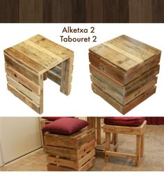 1000 images about palettes on pinterest du bois 1001 pallets and love seat - Tabouret bois vintage ...