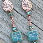 Copper Earrings with Czech Glass Beads in Cockatoo Blue Colors