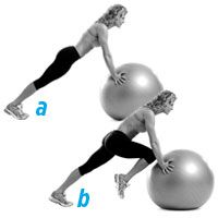 STABILITY BALL MOUNTAIN CLIMBER Assume a plank position with your hands shoulder-width apart on a stability ball (a). Draw your right knee toward your chest (b). Hold for one second, then return to the plank position. Repeat with your left knee. Do reps Fitness Diet, Fitness Motivation, Health Fitness, Fitness Fun, Stability Ball Exercises, Core Stability, 15 Minute Workout, Flat Belly Workout, Workout Guide