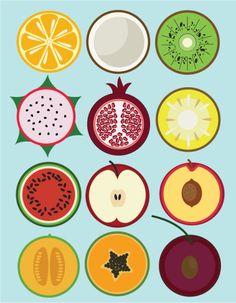 flat fruit, icons, fruit, 2D by student Rachael Nichols