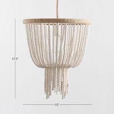 Wood Bead Chandelier, Pendant Lighting Bedroom, White Chandelier, Hanging Chandelier, Ceiling Chandelier, Ceiling Pendant, Chandeliers, White Pendant Light, Pendant Light Fixtures