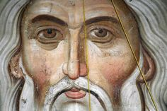 """Fresco of Our Lord Jesus Christ as the """"Elder of the Days"""" according to the Holy Gospel: """"No man has seen God at any time; the only begotten Son, which is in the bosom of the Father, He has declared Him"""" (John 1:18 ). The monastery of the Patriarchate of Peć, Kosovo, Serbia"""