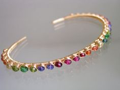 Rainbow Gold Filled Stackable Cuff Colorful by bellajewelsII