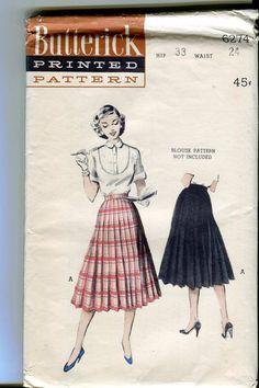 Butterick 6274 - UNCUT Vintage 50s Pleated Skirt pattern -. $5.00, via Etsy.