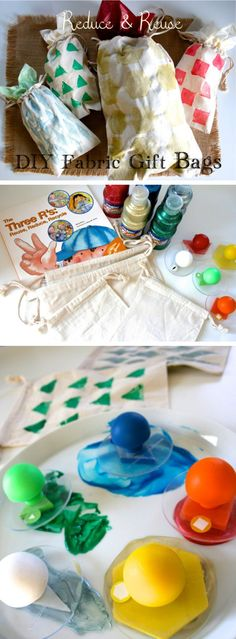 {DIY Fabric Gift Bags} Fabric gift bags are wonderfully earth friendly and make gift wrapping fabulously easy!  *So simple