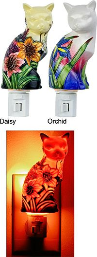 $14.95 Garden Cat Porcelain Night Light~ Every Purchase Funds Food and Care for Rescued Animals.