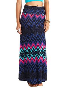 Abstract Chevron Print Maxi Skirt: Charlotte Russe