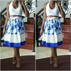 """Blue Floral Skirt Beautiful skirt with a floral pattern and mesh insert.  No Trades. No Paypal. Discounts on Bundles. Feel Free to Make an Offer.  I'm 5'7"""" and my measurements are 34-27-40. Skirts A-Line or Full"""