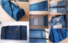 You already know our answer to what you should do with your old jeans. Therefore here is another DIY suggestion: Jeans bag. This product you can use for going to Diy Jeans, Jeans Refashion, Sacs Tote Bags, Diy Tote Bag, Denim Ideas, Denim Crafts, Denim Bag, Sewing Accessories, Zipper Bags