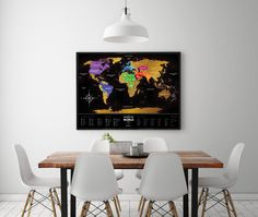Premium plastic Black Scratch map of the world. Free by 1DEAmeShop