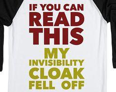 Invisibility Cloak | Harry Potter Shirt | White/Black Baseball T Shirt