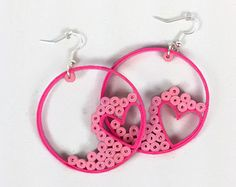 Pink Hearts Paper Quilled Earrings - paper quilling earrings, paper quilling jewelry, hot pink earrings, quilling hearts, gift for her