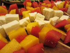 watermelon mango and goat cheese skewers