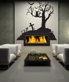 Vinyl Wall Decal Sticker Halloween Tree by Stickerbrand, I don't like the furniture, but I love the wall idea. Halloween Trees, Halloween Home Decor, Halloween House, Halloween Cat, Halloween Decorations, Happy Halloween, Vinyl Wall Stickers, Wall Decal Sticker, Horror