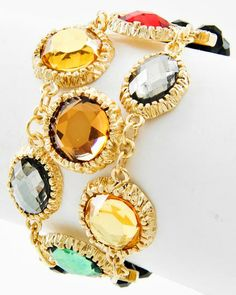 Gold Tone / Multi Color Acrylic & Jet Glass Crystal / Lead&nickel Compliant / Multi Row / Stretch Bracelet