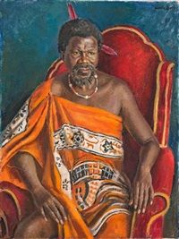King Sobhuza II by Alfred Neville Lewis Buddha Artwork, African Traditional Dresses, African Fashion Dresses, Black Art, Wisdom Quotes, Native American, Royalty, Auction, King