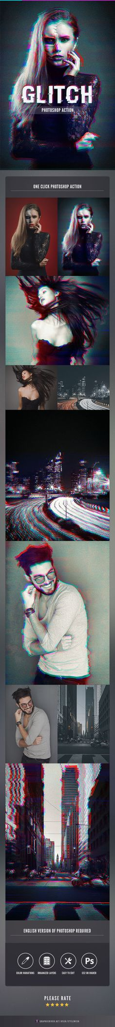 Glitch Photoshop Action - Download…
