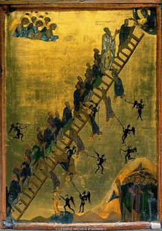 Byzantine Icon, 12th Century. The Heavenly Ladder, an instruction to monks by Abbot Johannes Klimax (6th CE). Good monks climb steadily heavenwards towards perfection, bad monks are dragged to hell by black devils. 11th-12th century, Santa Katarina Monastery, Sinai, Egypt