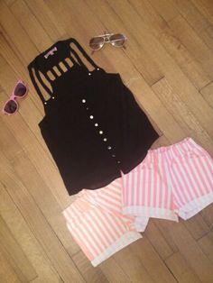 Two Cute Boutique : Girls Braided Tank Top . Girls Neon Orange Striped Shorts . Girls Neon Pink Striped Shorts . Kids Wayfarer Sunglasses . Kids Aviator Sunglasses .