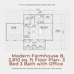 Modern Version B 3 Bed – 3 Bath ~ 2,810 sq. ft.– with Office. We sell semi-custom Barndominium floor plans and provide helpful tips to design and build your home whether it is DIY or you are paying a company. #architecture #barndominiums #home #modernbarn #barnhomefloorplans #beautifulbarn #homefloorplan #barnhomedesign #housedesign #barndominiumfloorplans #floorplan #dreambarn #barnhouse #barndominiumliving #barndominiumdesign #office #floorplan #farmhouse #modernfarmhouse