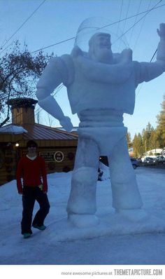 Buzz Lightyear snow sculpture
