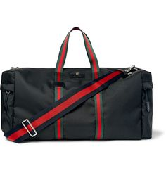 GUCCI Webbing-Trimmed Coated-Canvas Holdall. #gucci #bags #travel bags #weekend #canvas #