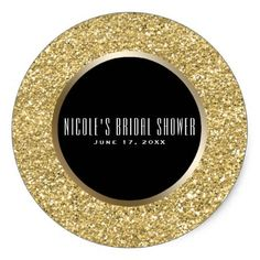 Black & Gold Glitter Glam Elegant Wedding Favor Classic Round Sticker - birthday diy gift present custom ideas