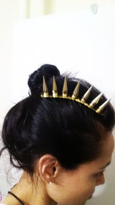 Gold Spike bolt hair comb by BoltsOfGrace on Etsy