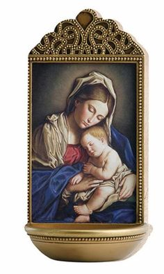 """Madonna And Child Holy Water Font By Sassoferrato A beautiful and traditional Catholic gift. Made of resin and Measures 6"""" Tall"""
