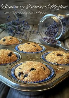 Some more #rawvegan magic from @nouveauraw. Behold #rawfood Blueberry Lavender Muffins! #recipe