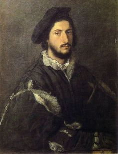 Titian–Tiziano Vecelli or Tiziano Vecellio (Italian c. 1488/1490–1576) [High Renaissance] Portrait of a Gentleman,  c. 1510. National Gallery, London.: