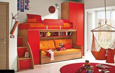 Pack it all against one wall and the room becomes an arena for playing games, visiting with friends, or having an indoor camp out. Use a simple bunk bed as a starting point and create a cubbyhole for a sofa and book case on the lower level.
