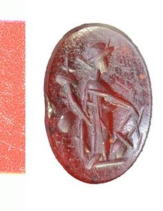 Carnelian intaglio. Fortuna to front, facing right, with cornucopia and rudder.