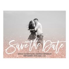 Typography Save the Date Wedding Invitation Save the Date rose gold faux glitter pink photo Postcard