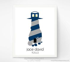 Nautical Nursery Baby Footprint Lighthouse by PitterPatterPrint, $20.00
