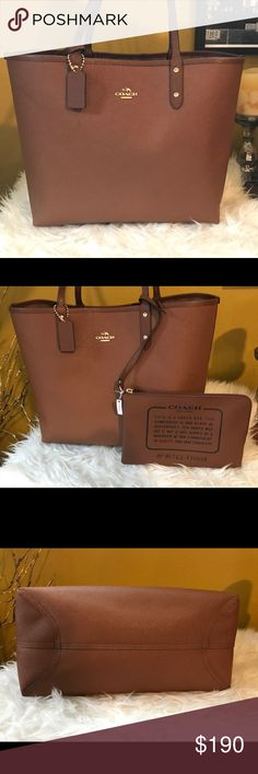 "Coach reversible city tote NWT. Reversible city tote with pouch. Beautiful medium brown/tan. Dimensions are approximately 13"" L x 12"" H. Perfect condition, never used. Coach Bags Totes"