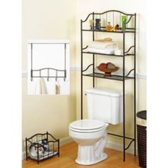 Bath storage sets at Kohl's - This bath ensemble set features a nickel finish, metal construction, over-the-door five-hook rack, magazine rack and a three-shelf space saver. Style numbers Shop our full line of bath storage sets at Kohl's. Over Toilet Storage, Storage Sets, Bathroom Storage, Hanging Storage, Bathroom Shelves, Bathroom Rack, Master Bathroom, Bathroom Table, Storage Rack