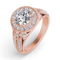 Rose Gold Pave Halo Ring style number EN7560RG.