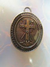 RARE reliquaire argent 19e croix sceau pendentif ex-voto pélerinage terre sainte