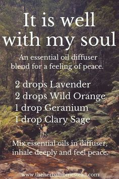 It is Well with My Soul diffuser essential oil blend. More information regarding the use of CPTG Essential Oils can be found at www. Essential Oil Diffuser Blends, Doterra Essential Oils, Young Living Essential Oils, Doterra Diffuser, Essential Oils For Anxiety, Diffuser Recipes, Aromatherapy Oils, Perfume, Herbalism
